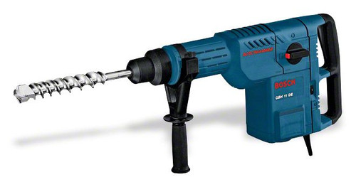 Bosch GBH 11 DE professional Rotary Hammer with SDS-max he most important data Rated power input 1.500 W Max. impact energy 14,2 J Drilling diameter in concrete with hammer drill bits 12 – 52 mm