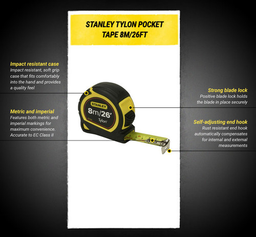 Stanley Measuring Tape 8m/26 FT Tylon Tape measure