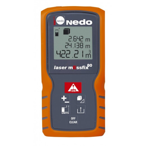 Buy Nedo Laser mEssfix 80 Distance Measure , 0.05-80m online at GZ Industrial Supplies Nigeria.  Features:     Multi-functional end piece with automatic position detection     Clear, back-lit 3-line display     Area and volume calculation     2 Pythagoras functions     Single or continuous measuring     Calculator function (+/-)     Memory for the last ten measurements     Small, handy and robust     IP 54 splashwater protection