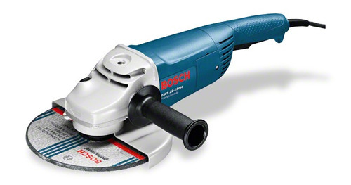 """Bosch angle grinders 9"""" GWS 22-230 H Professional Compact powerful tool for the toughest jobs Powerful 2200 W Champion motor – for fast work progress Low weight for optimum handling Anti-rotation protective guard – reliably protects the user if the grinding disc breaks Anti-rotation protective guard – reliably protects the user if the grinding disc breaks Armoured coils that protect the motor against sharp grinding dust ensure long lifetime Double-sealed ball bearings and the especially sturdy gearing guarantee a long lifetime"""