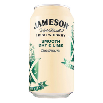 Jameson Irish Whiskey Smooth Dry and Lime 6.3% Cans 375mL