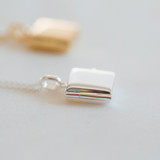 1/2 inch small sterling silver and gold square photo lockets