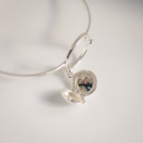 sterling silver locket bangle with photo inside