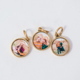 gold round charms with photo inside