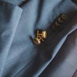 gold round cufflinks with photo locket open pendant style