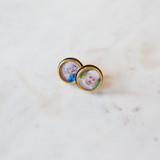 photo of little girl and little boy in gold round cufflinks