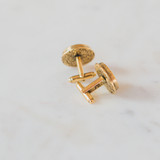 gold locket cufflinks with etching on the back