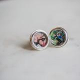 round photo locket cufflinks in silver