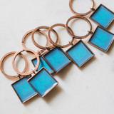 square copper keychain message pendants for kids backpacks that say be kind, be bold, be brave, be you