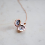 rose gold lillian locket with two photographs inside, perfect gift for mothers day or graduation or wedding