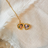 Petite Gold Heart Locket with Photos of Daughters