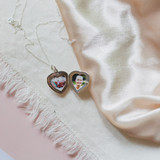 Photo of daughter and grandmother together in silver heart locket