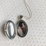 Silver Oval Locket with Photo of Mom and Dad's Wedding Day