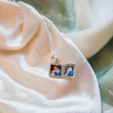 Small Square Silver Locket with Two Pictures