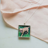 """Open Silver Square Pendant Locket with """"Pandemic Puppy"""" Photo!"""