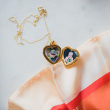 Gold Heart Locket with Two Pictures Inside
