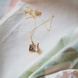 Square Gold Locket with Photo of Beloved Cat