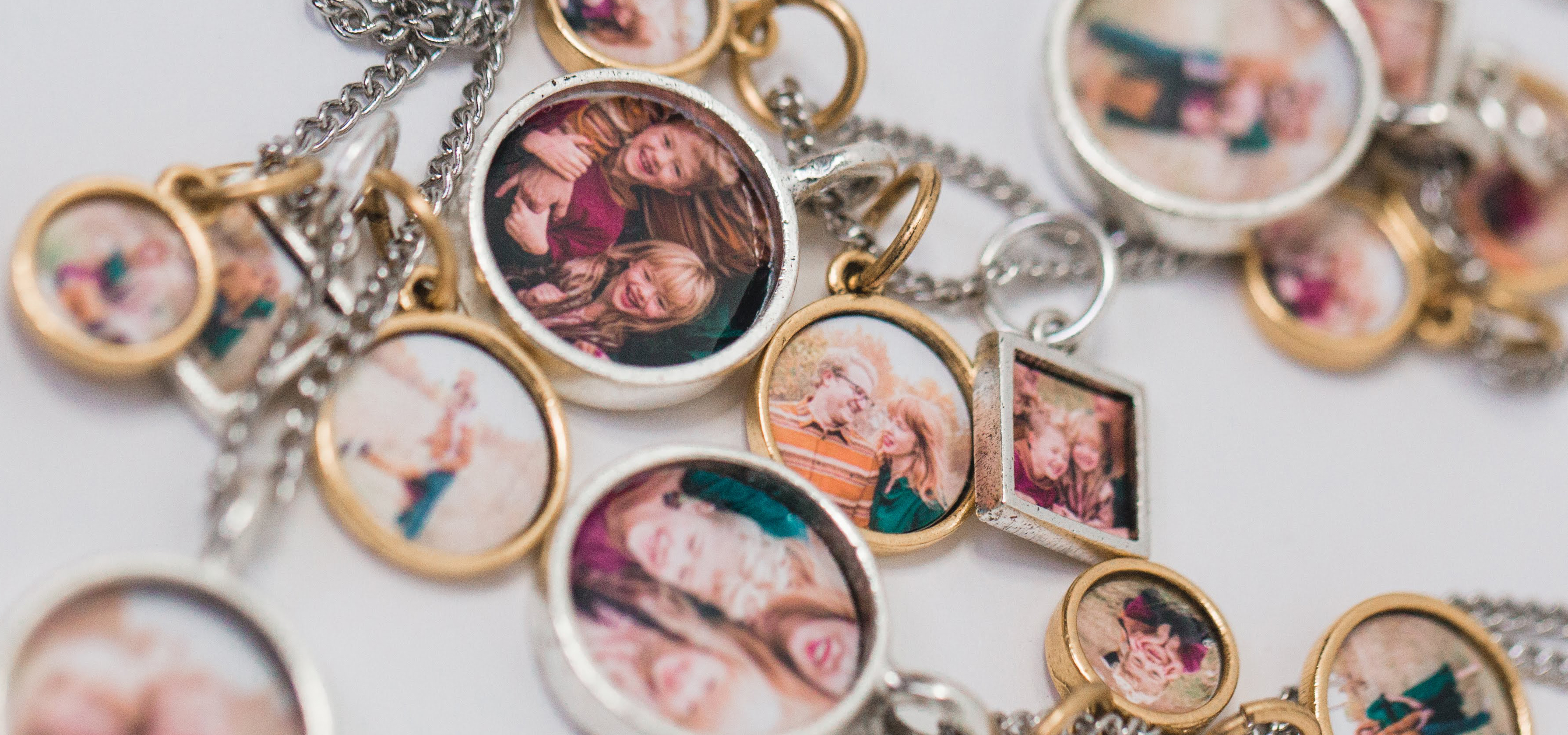 Locket pendants with photos inside