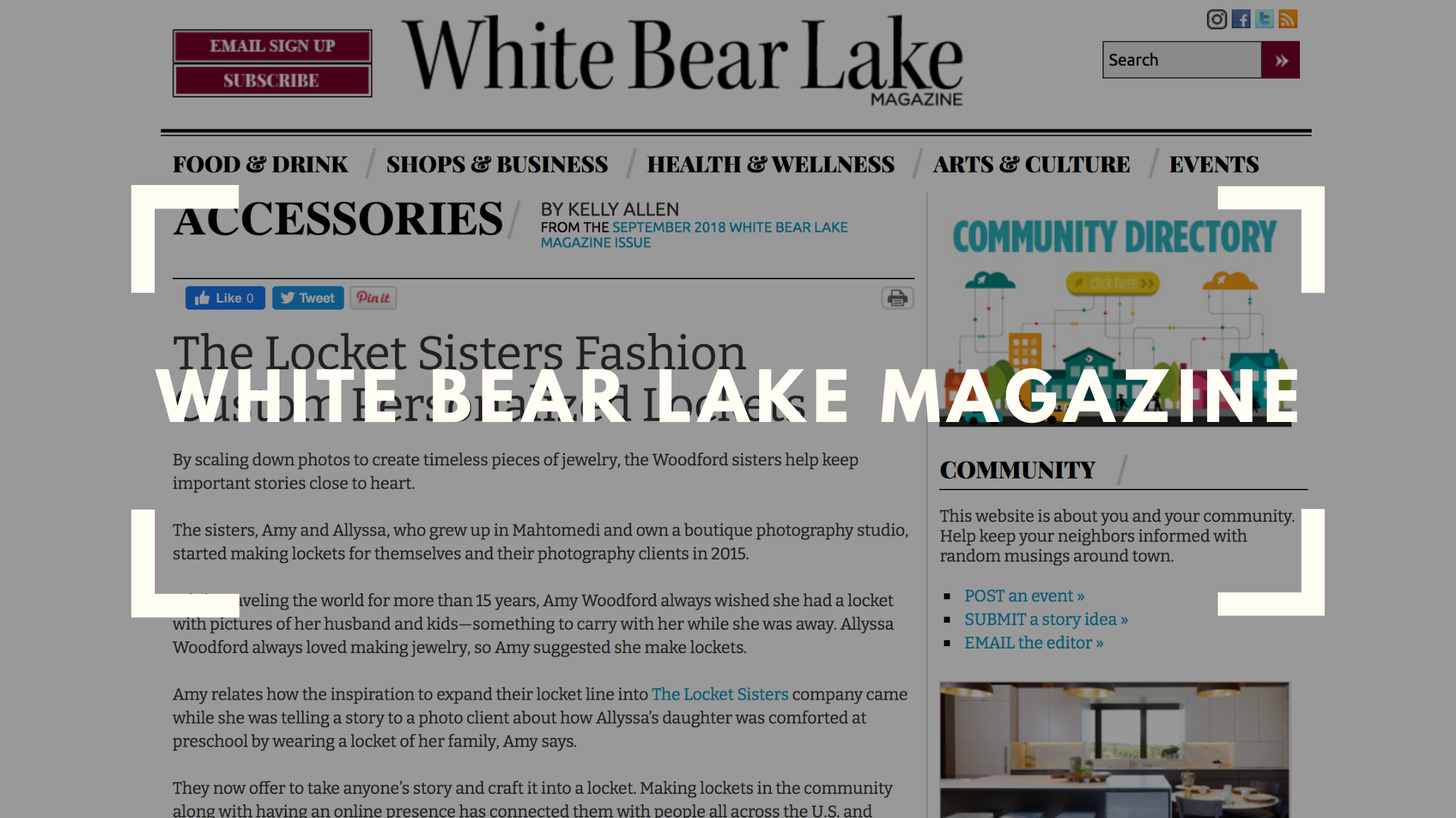 the locket sisters graphic on the white bear lake magazine website
