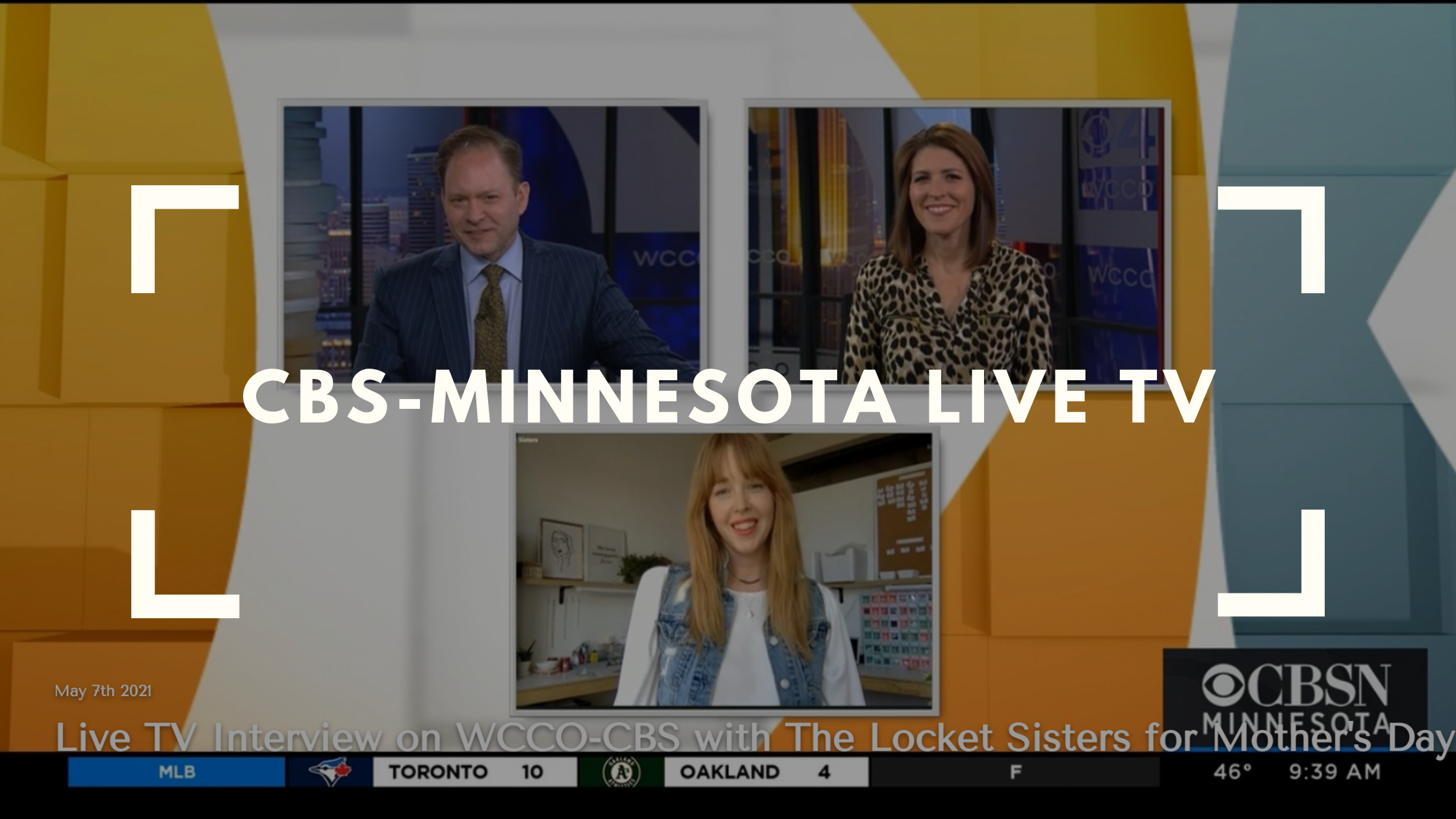 live tv interview on cbs-wcco minnesota for mother's day gifts with the locket sisters