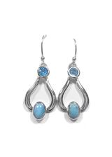 Larimar & Blue Topaz Dangle Earrings 11