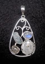 Solar Quartz, Aquamarine, & Moonstone Pendant