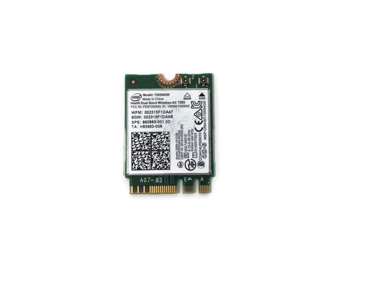Intel Dual Band Wireless - 802.11ac, Dual Band, Wi-Fi + Bluetooth 4.0