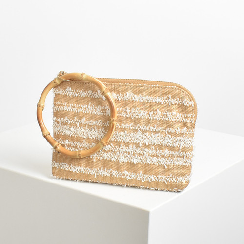 Bamboo Ring Raffie Stripe Weave Pouch