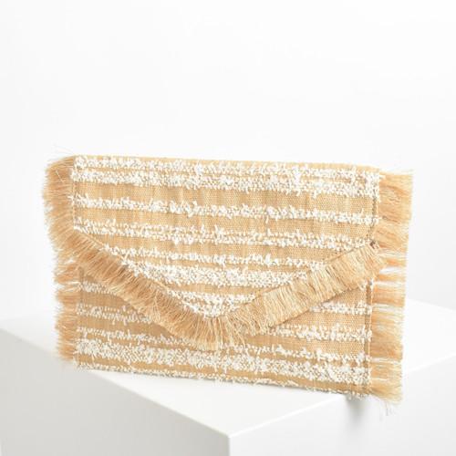 Raffie Stripe Weave Fringe Fold Over Clutch Bag