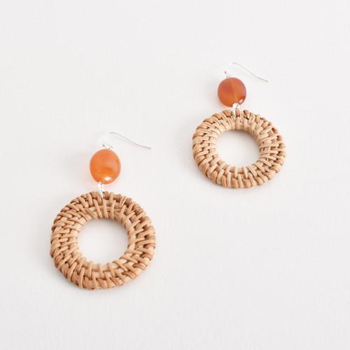 Rattan Ring & Stone Drop Hook Earrings