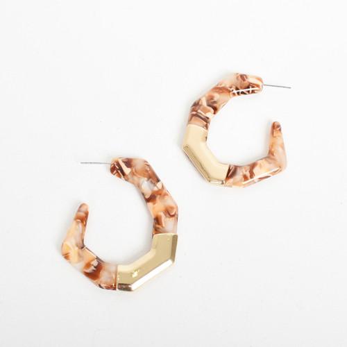 Metal Detail Geo Resin Hoop Earrings