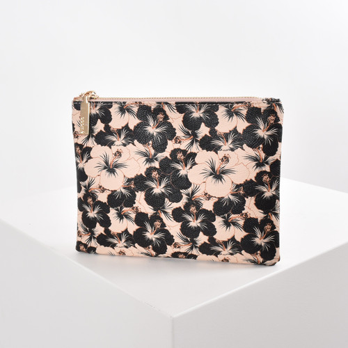 Hibiscus Print Pouch - Nude