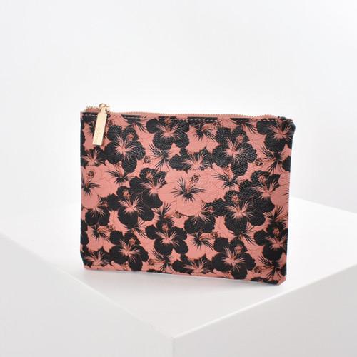Hibiscus Print Pouch - Raspberry