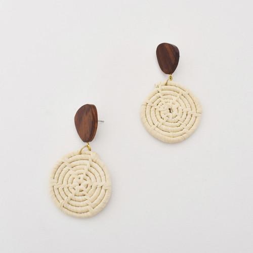Natural Wheel Timber Top Earrings