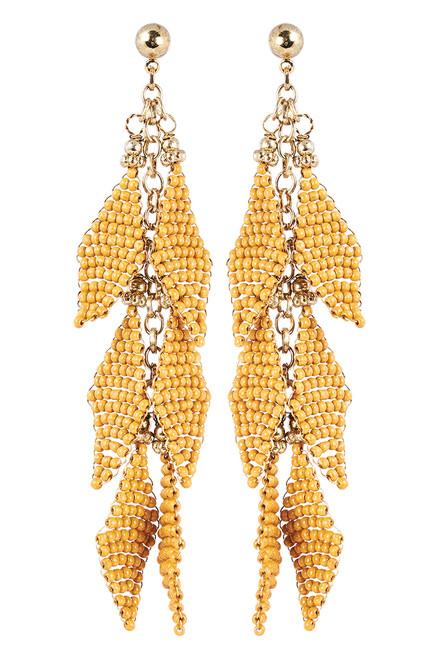 Kalahari Leaf Earring in Saffron
