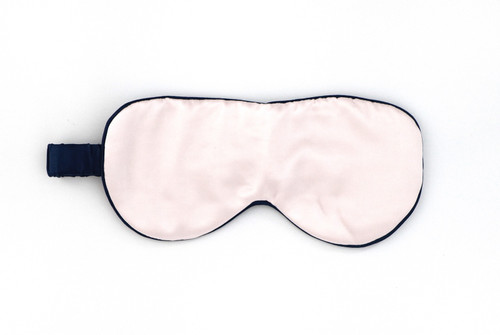 Pure Silk Travel Eye Mask - Peony Pink piped with French Navy