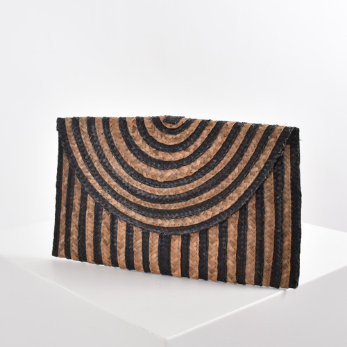 Stripe Natural Weave Clutch - Black
