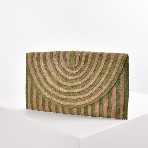 Stripe Natural Weave Clutch - KHAKI