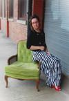 Modest Striped Ruffle Skirt
