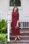 Cranberry A Night in Paris Dress is the perfect modest bridesmaids dress.
