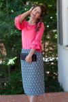 NAVY & WHITE DAMASK Modest Dainty Jewell's Original Pencil Skirt