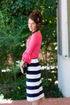 NAVY & WHITE THICK STRIPES Modest Dainty Jewell's Original Pencil Skirt