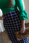 Navy/White Plaid Dainty Jewell's Original Pencil Skirt