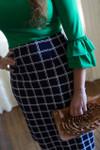 Navy/White Plaid Dainty Jewell's Original Pencil Skirt