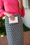 BLACK & WHITE DAMASK Modest Dainty Jewell's Original Pencil Skirt