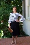 BLACK SCALLOPS Modest Dainty Jewell's Original Pencil Skirt