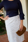 GRAY & WHITE LACE Modest Dainty Jewell's Original Pencil Skirt