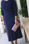 Modest Solid Navy Layering Dress