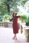 Modest Solid Burgundy Layering Dress