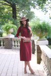 Modest Solid Burgundy Layering Dress